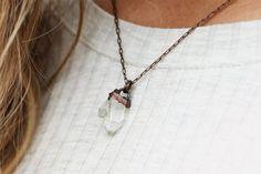 Electroformed Jewelry: raw crystal necklace, rough quartz jewelry, layering…