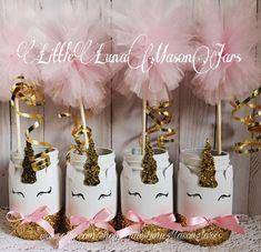 Unicorn themed mason jar, pink and gold birthday party, unicorn centerpiece, birthday preset, pencil holders, makeup brush holder by LittleLunaMasonJars on Etsy https://www.etsy.com/listing/481411932/unicorn-themed-mason-jar-pink-and-gold