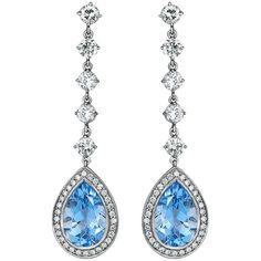 Preowned 5.03 Carat Aquamarine Diamond Platinum Dangle Earrings (63.265 RON) ❤ liked on Polyvore featuring jewelry, earrings, multiple, dangle earrings, long diamond earrings, diamond drop earrings, pre owned jewelry and diamond jewelry