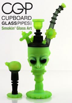 Zach Puchowitz - Slyme 'Punished Head' Series Concentrate Rig with Slide Cool Glass Pipes, Cool Pipes, Water Pipes, Smoking Pieces, Stash Jars, Pipes And Bongs, Dab Rig, Cool Tattoos, Awesome Tattoos