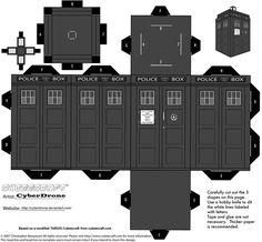 Cubee - Classic TARDIS B-W by CyberDrone.deviantart.com on @deviantART