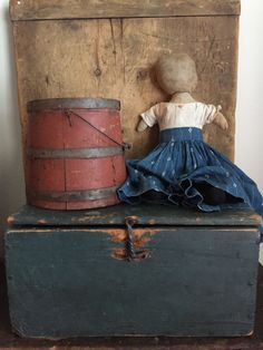 Early New England Wooden Document Box in Blue Paint | eBay