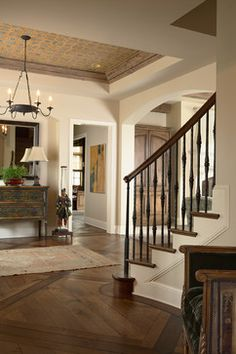 Foyer - traditional - Entry - Minneapolis - Twist Interior Design.  Love the ceiling!  well, and the floor, and the table, etc.............