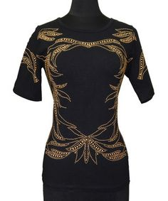 Love this Black & Gold Bejeweled Filigree Crewneck Top - Women by Vecceli Italy on #zulily! #zulilyfinds