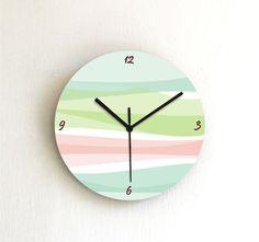 Items similar to Soft pastel retro geometric wall clock,round colorful wood graphic design printed pattern decorative clock,hostess wall art on Etsy Cute Clock, Diy Clock, Clock Decor, Wall Clock Design, Clock Wall, Wall Art, Clock Template, Geometric Decor, Geometric Graphic