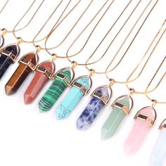 Gemstone Bullet Crystal Pendant with a Gold Plated Necklace (11 Stones available)