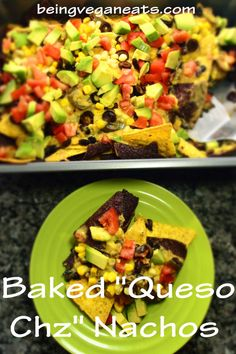 """(Vegan) Here is a great party plate for when you have company over and you don't have much time. This can be made in about twenty minutes. Our """"Queso Chz"""" sauce has a sharp kick of spice, and the nachos are loaded with all the usual suspects like sliced jalapenos, black beans, chopped tomatoes, sliced black olives, avocado and corn!"""