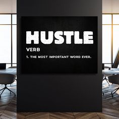 Hustle | Home office decor | Business Motivation | Gift for Businessman | Money Decor | Money Art | Entrepreneur Art
