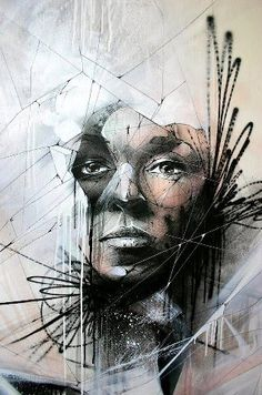 I like how conceptual and abstract looking this piece is. I am not sure what the intended message is but it is likable. Street Art Love, Amazing Street Art, Amazing Art, Murals Street Art, Street Art Graffiti, Illustrations, Illustration Art, L'art Du Portrait, Portraits