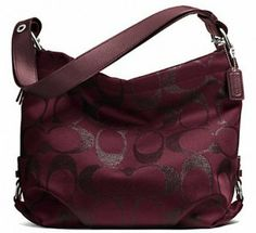 Coach Signature Metallic Duffle 27461 Bordeaux Burgandy