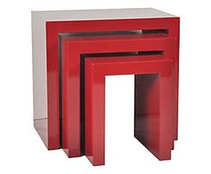 Set di 3 tavolini in paulonia Red - max 59x56x40 cm