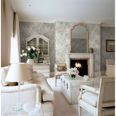 Seabrook Wallpaper CB90208 - Carl Robinson 9-Romantique - Dogwood Floral design shown in Living Room