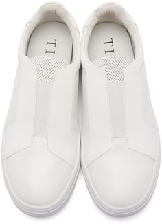 Tiger of Sweden: White Leather Slip-On Sneakers