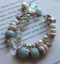 ON SALE chunky charm bracelet aquamarine pearl by soulfuledges