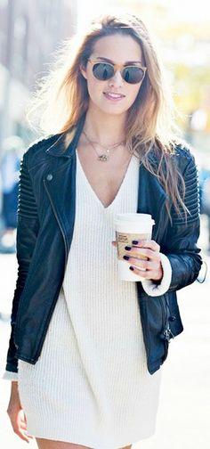 Sweater dress + moto jacket.