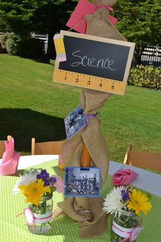Teacher Retirement Party wit chalkboard and photo centerpieces. Teacher Retirement Parties, Teacher Party, Retirement Celebration, College Graduation Parties, Graduation Party Decor, School Parties, Retirement Ideas, Grad Parties, School Centerpieces