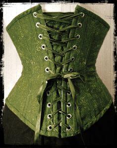 Green cotton brocade underbust corset. By Anette Fredsdatter Heidal.
