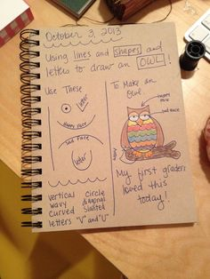 An Art Teacher's Journal. Owl drawing lesson - using lines, shapes and letters. First grade.
