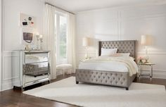 From the Memphis Collection. Upholstered bed made in a Platinum fabric adds a touch of glam to any bedroom.