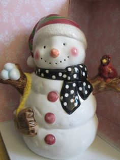 Vintage Snowman Christmas Cookie Jar -- Jay Import Co. - Porcelain Bisque