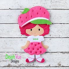 Non Paper Dolls offered by Stone House Stitchery **Outfit Only** Strawberry girl Outfit ITH embroidery design