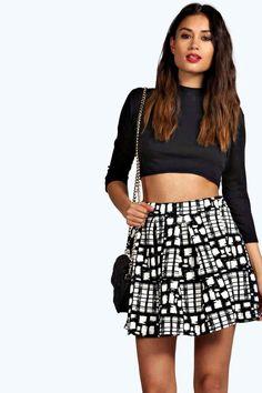 Eve Grid Check Flocked Skater Skirt