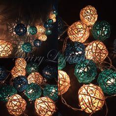 20x Blue Sky Tone Rattan Balls Fairy String Lights Party Patio Wedding Floor Hanging Gift Home Decor Indoor Bedroom string lights
