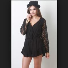 New black lace sleeved romper New black lace sleeved romper, size medium. Has an elastic waistband. Front Length: 27.5 inches. Back length: 33 inches. Material: 100% rayon, contrast: 95% nylon, 5% spandex Pants Jumpsuits & Rompers