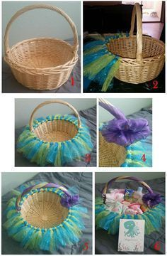 Little Mermaid Tutu Basket DIY Baby Shower Gift Basket Ideas for Girls Baby Shower Gift Basket, Baby Baskets, Baby Shower Gifts, Easter Baskets, Frozen Easter Basket, Baby Gift Hampers, Hamper Basket, Baby Shower Themes, Baby Boy Shower