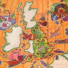 Will post few kids book illustrations I've drawn many moons ago. This one is fun map of England. #Map #mapofengland #kidsbooks #childrensbookillustration #dragon #topography #windrose #astrology #tallship #poseidon #greatbritain #education #diagram #infographic #educationalillustration #orange #bookart #richpictures #graphicrecording #visualinterpretation #graphicdesign #watercolorpencil #oldmaps #uk #artist #learning #england #visualcapture #cartography