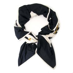 694ab115a Labellov Hermès Carré Black-White-Gold Silk Scarf ○ Buy and Sell Authentic  Luxury