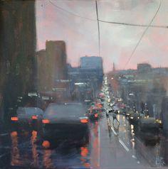 """""""Melbourne Rain"""" by Mike Barr. Paintings for Sale. Watercolor Illustration, Watercolor Art, Rain Painting, Cityscape Art, Art Studies, Urban Landscape, Art Plastique, Beautiful Paintings, Online Art Gallery"""