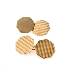 Antique 14k Gold Art Deco Cufflinks Pinstripe Pattern Articulated #vbantiquejewelry