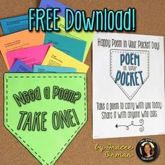 Free Poem in Your Pocket Day Printable Poems to Celebrate Poetry - Quotes Poetry Activities, Fun Classroom Activities, Teaching Activities, Teaching Resources, Teaching Ideas, Free Poems, Ninth Grade, Seventh Grade, Teaching Poetry
