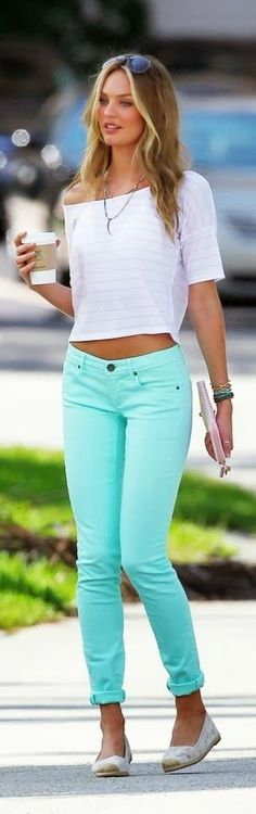 Mint skinnies.white crop top. -- 50 Stylish Summer Outfits - Style Estate -