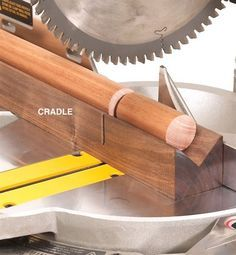 Tips for Mastering the Miter Saw - Cut dowels with a home made V-block
