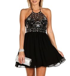 Jewel- Black Beaded Homecoming Dress