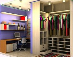 Wow if space is an issue (in Brazil usually is lol... this is nice)  FERNANDEZ MÓVEIS PLANEJADOS: Closet + Sala de estudo
