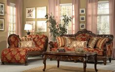 286-S Traditional Formal Red Color Microfiber Chenille Sofa