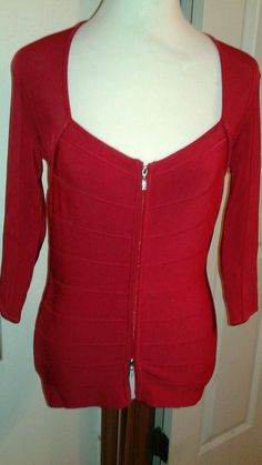 Cache Ladies knit Top Zip up front Red SZ M Square neckline Jeweled zipper pulls #Cache #Zipfrontknittop #Career