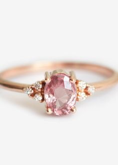 Peach Sapphire & Diamond Ring | MinimalVS on Etsy