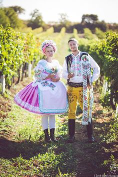 The couple in South Moravian folk costumes, Czechia