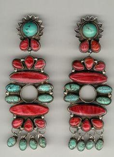 Earrings | Ron Wesley (Taos New Mexico).  Sterling silver, coral and turquoise.  ca. 1980s