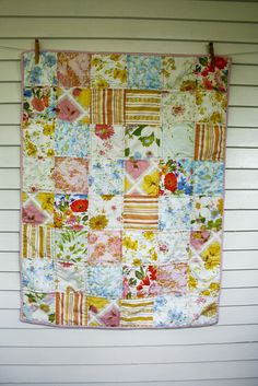 Collecting a stash to make one of these....love vintage sheet quilts