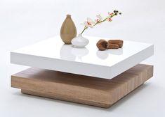 Hugo Square Coffee Table High Gloss White And Oak Base - Buy High Gloss Coffee Table, Furnitureinfashion UK