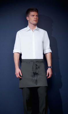 Short Apron with Pocket, Graphite