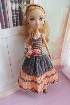 Crocheted dress for dolls Ever After High by Dress4bjd on Etsy