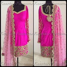 Ummmm yes please.. A new take on the classic Kaurture silk suit. This beautiful pure silk suit was customized with hand embroidered gotha sleeves and embroidered pajami, paired with a beautiful sequins duppatta.. Truly a classic piece.. Can be customized in any colour and size. For any inquiries please see my