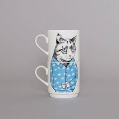 Mr Cat thinks that these tea mugs are the Cats Pajamas  Material: fine bone china Dimensions: H9xD8cm Stacked dimensions: H18cm Set of two stack-able