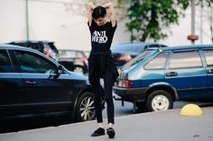 Ukrainian Fashion Week guests: 2017, September. #ootd #outfit #style #streetstyle #ufw #fashionweek #ukraine Ukraine, Ootd, Happy Colors, Outfit, Normcore, Instagram Posts, T Shirt, Black, September